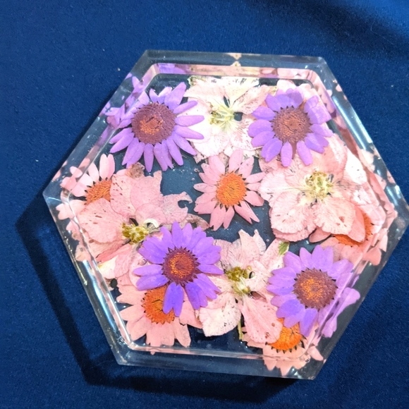 Pink and Purple Pressed Flower Coaster